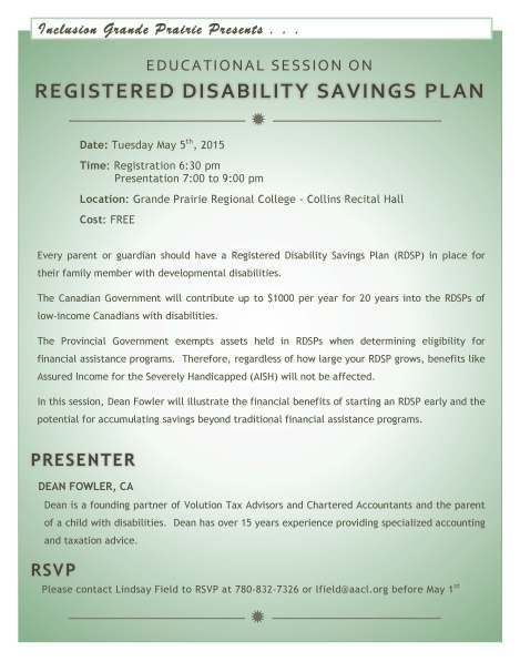 RDSP Information Session Invitation