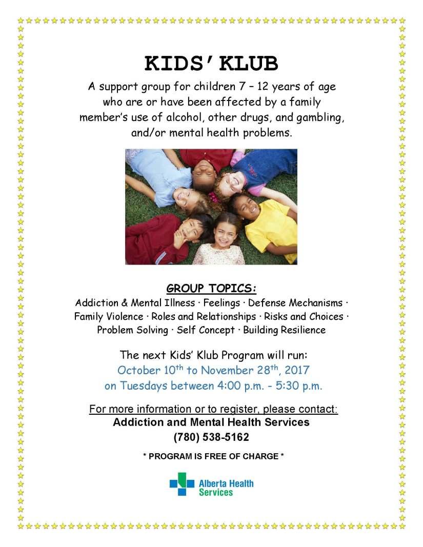 Kids' Klub Poster FALL2017