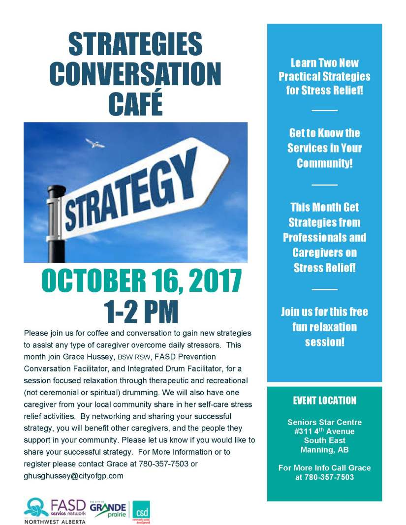 Poster for Strategies Conversation Cafe - Manning