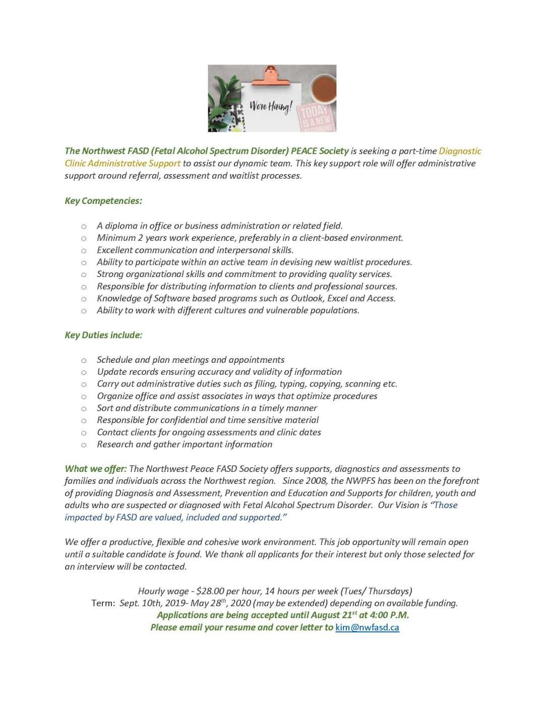Clinic support job description July 2019 Final
