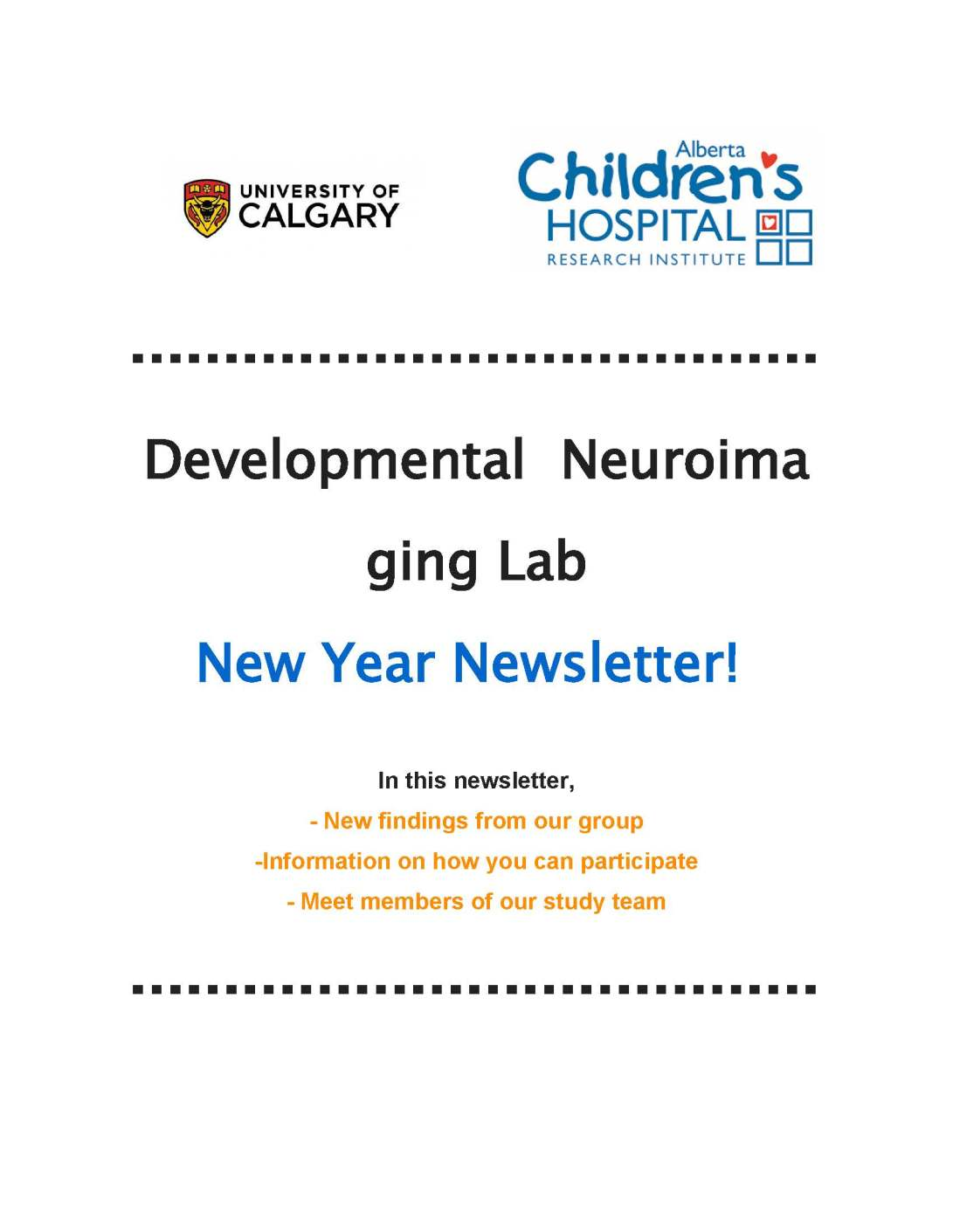 UofC Developmental Neuroimaging Newsletter 1